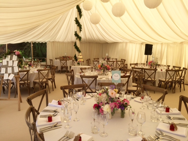 Interior of 30'x50' traditional marquee - dp marquees ltd