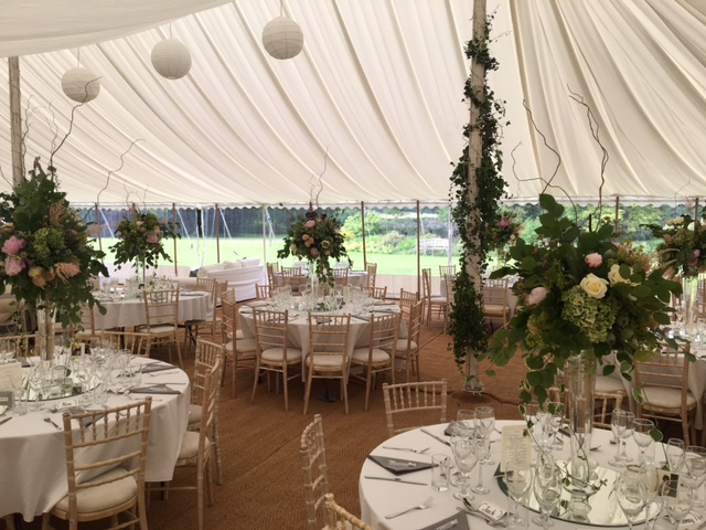 interior of traditional marquee - dp marquees ltd