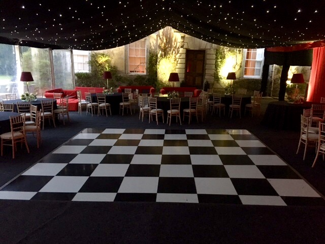 Black & white dance floor in clearspan marquee - dp marquees ltd