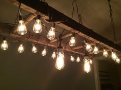wooden ladder with filament bulbs - dp marquees ltd